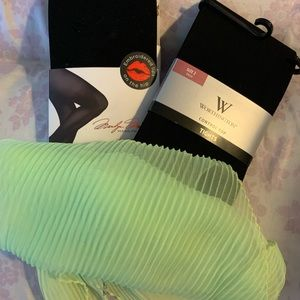 2 packs NWT Black tights, complementary scarf